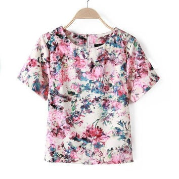 Floral Print Back Zipper Short Sleeve Shirt