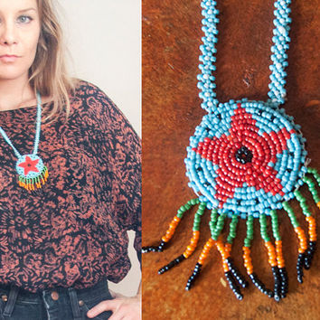 Blue Native American Seed Beaded Fringe Necklace | Turquoise Tribal Handmade Beadwork Medallion Necklace | Ceremonial Peyote Stitch Jewelry