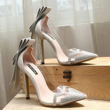 Summer Fashion Transparent Rhinestones Bow Stitching Shallow Mouth Pointed Toe Shoes Women Heels Shoes