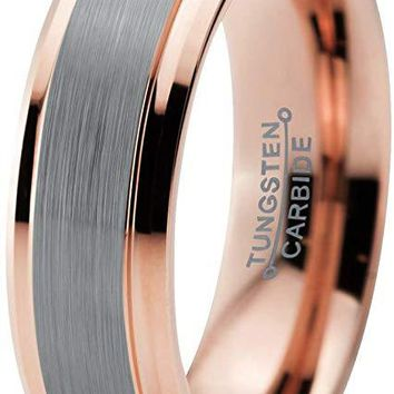 Bazyli Rose Gold Tungsten Wedding Band Grey Brushed Polished Comfort Fit and Step Edges - 6mm