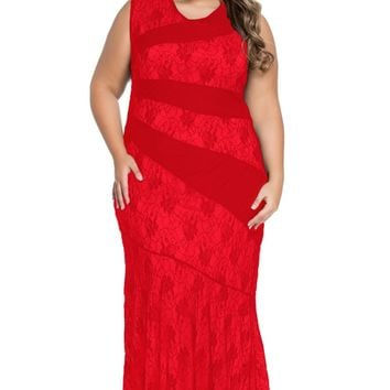 Red Stylish Lace Splice Plus Size Mermaid Prom Dress