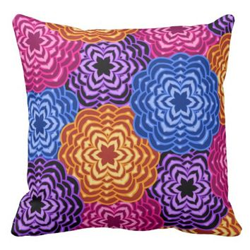 Rainbow Multicolored Floral Abstract Throw Pillow