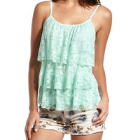 Tiered Lace Knit Tank: Charlotte Russe
