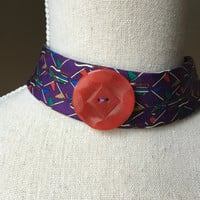 Necktie Choker Upcycled Golf Jewelry Textile Gift Under 25 Mod Jewelry Fabric Necklace Gift for Her Purple Hipster Choker Red Bohemian Trend