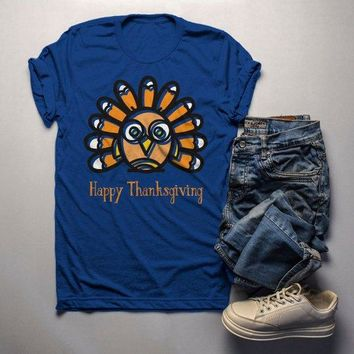 Men's Funny Thanksgiving T Shirt Silly Turkey Happy Thanksgiving Cartoon Graphic Tee