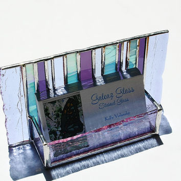 Stained Glass Business Card Holder Purple Lavender by GaleazGlass