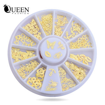 New 3d Gold Metal Nail Art Sticker Decoration Wheel Butterfly Lips Design Tiny Slice DIY Nail Accessories