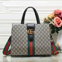 """Gucci"" Fashion Multicolor Stripe Retro Print Single Shoulder Messenger Bag  Women Temperament Large Handbag"
