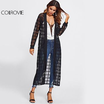 Plaid Mesh Longline Kimono Women Black Semi Sheer Sexy Casual Spring Blouse Fall Long Sleeve Thin Elegant Kimono