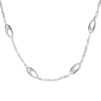Sterling Silver Brushed Ovals and Heart Link Necklace
