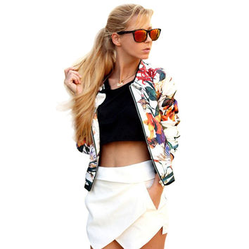 Spring Autumn Floral Bomber Jacket Women Casual Sleeve Floral Zipper Jacket Women Coat Plus Size S-XL Chaquetas Mujer Casaco