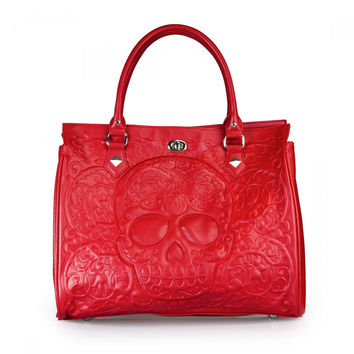 Sugar Skull Red On Red Lattice Tote