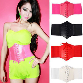 Women Fashion Waist Cincher Corset Belt Wide Band Elastic Tied Waspie Belt Hot