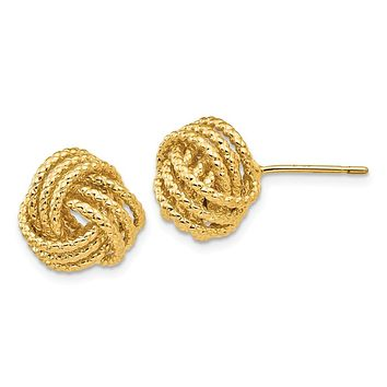 12mm Twisted Rope Love Knot Post Earrings in 14k Yellow Gold