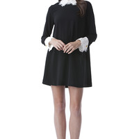 This super sweet a-line dress is just perfect for your everyday look. It's kind of got a 1930s British Boarding school feel to it. Or of course...Wednesday Addams. charming white Peter Pan collar covered with white lace, shift construction, long sleeve wit