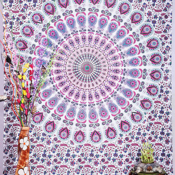 White Mandala Tapestry, Hippie Wall Hanging, Hippie Tapestry, Bohemian Tapestry, Indian Boho Cotton Bedspread, Beach throw picnic throw