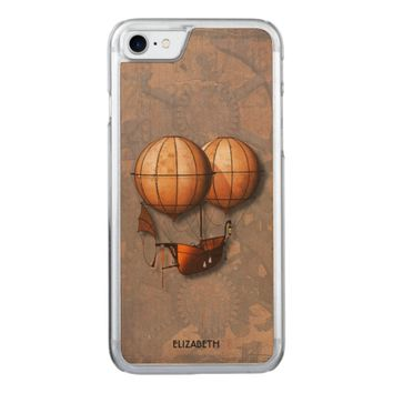 Vintage Retro Steampunk Air Balloon With Ship Carved iPhone 7 Case