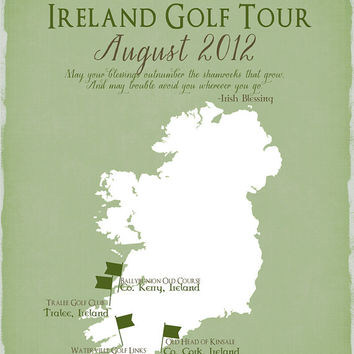 Ireland Golf Tour, Golf Gift - Gift for Dad 8x10 Personalized Travel Map, Golf Trip, Bon Voyage, Gift for Golfer, Celtic