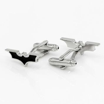 Batman Dark Knight gift Christmas Kemstone Black Batman Cufflinks Enamel Paint Cuff Links Men Gemelos Shirt Cuffs AT_71_6