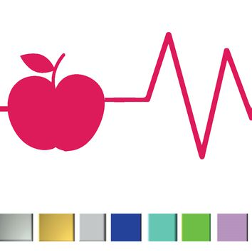 (2) TWO - Heartbeat Teacher Vinyl Graphic Decal