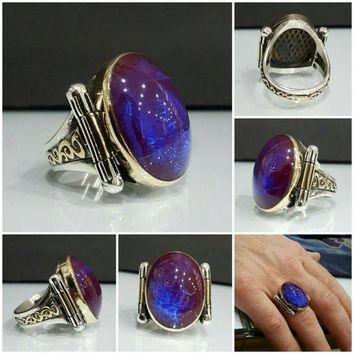 Blue turquoise unique amber gemstone 925k sterling silver mens ring