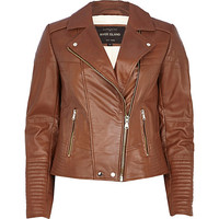 River Island Womens Brown leather biker jacket