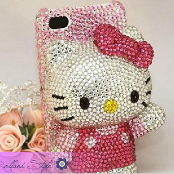 Free Shipping Glitter 3D iPhone case, iPhone 4/4S case, custom Pink iphone 5 case,Bling Crystals Cell Phone Case Hello Kitty