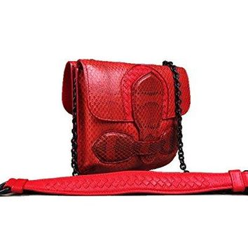 BOTTEGA VENETA Red Intercciato Snakeskin Double Sided Rialto Cross-body Clutch Bag Handbag Purse
