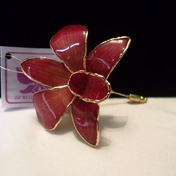La Belle Collection Red Orange Orchid Flower Enamel &  24K Gold Plate Brooch Stick Pin