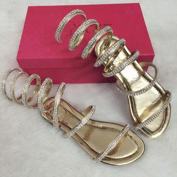 Summer woman sandals Crystal Sexy Women Gladiator Sandal women Boots Snake Flat Shoes Roman shoes plus size 3.5-15 Free shipping