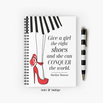 Give A Girl The Right Shoes And She Can Conquer The World - Spiral Notebook With Lined Paper, A5 Writing Journal, Diary, Lined Journal