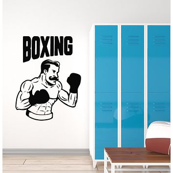 Vinyl Wall Decal Boxing Retro Boxer Fight Club Fighting Art Sports Stickers Mural (ig6163)