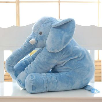 Large Long Nose Elephant Sleep Pillow Baby Plush Toy Lumbar Cushion Doll 40*30cm