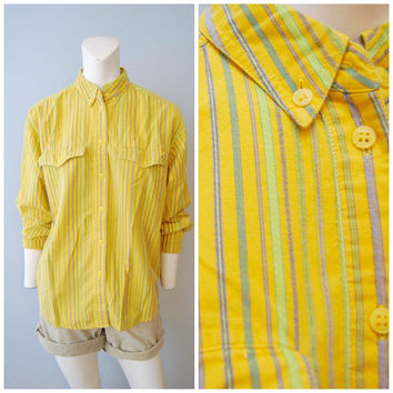 Vintage 1990's Yellow Vertical Striped Pinstripes Utility Blouse Shirt Top Button Down Women's Liz Sport Size Medium Cotton Green Neon