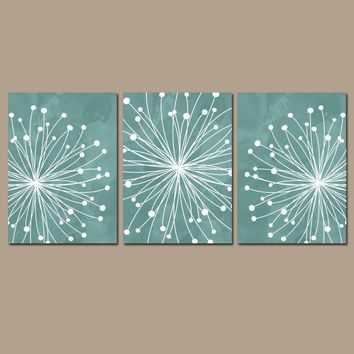 DANDELION WALL ART, Teal Bedroom Wall Art, Watercolor Dandelion Canvas or Prints, Teal Bathroom Decor, Dandelion Pictures, Set of 3 Pictures