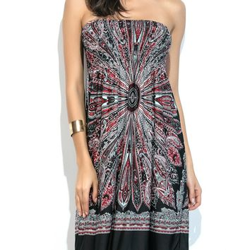 d856747b5c Casual Strapless Smocked Bodice Printed Empire Shift Dress