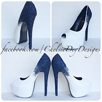 White to Navy Blue Ombre Glitter Peep Toe High Heels