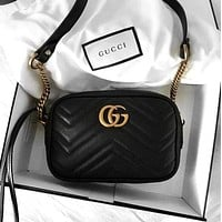 Gucci Bag Small Bag Wave Bag Shopping Chain Leather Crossbody Satchel Shoulder Bag Black