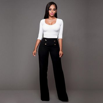 Women Pant Casual 2017 Summer Palazzo High Waist OL Career Wide Leg Trousers Loose Pants New