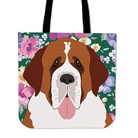 Saint Bernard Dog Portrait Linen Tote Bag