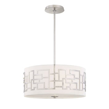 Modern 3-Light Ceiling Pendant with White Fabric Drum Shade in Brushed Nickel