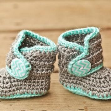 Crochet Baby Booties - Baby Boots - Mint Teal and Grey Baby Shoes Chevron - Chevron Ba