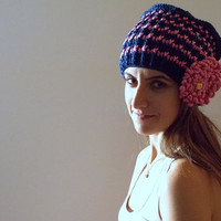 Crochet Blue and Pink Striped Over Sized Women's Hat, Warm, Winter Crochet Accessory, Ready to Ship