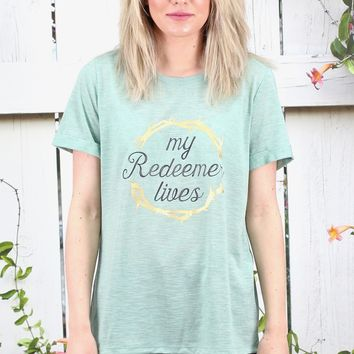 My Redeemer Lives S/L Crew Tee {Mint}