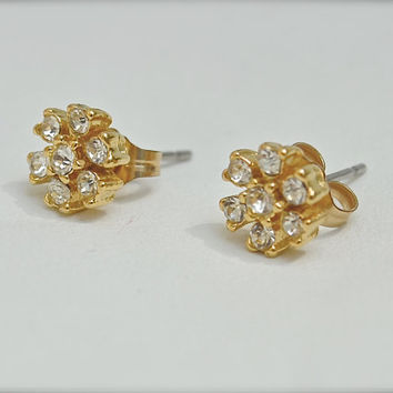 Gold Earrings, CZ Earrings, Crystal Earrings, Rhinestone Earrings, Post Earrings, 1970's Earrings, Vintage Earrings, Earrings, Stud Earrings