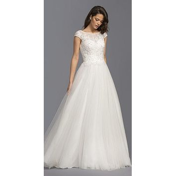 Illusion Beaded Long Wedding Dress Cap Sleeves Off White