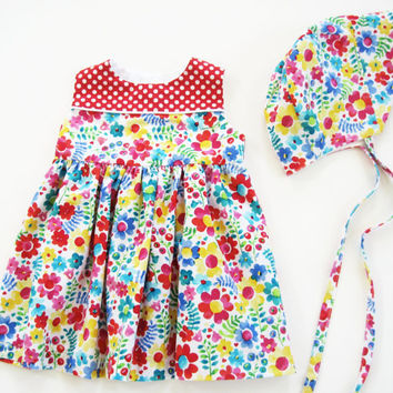12 month dress with matching bonnet sunday best floral sundress summer dress first birthday sun bonnet 12 month outfit for baby girl