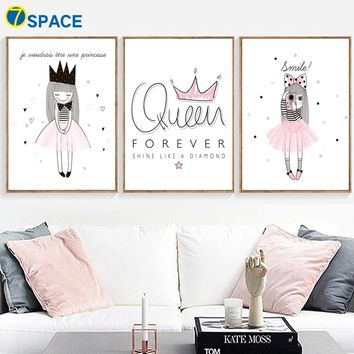 Cartoon Pink Girl Queen Crown Wall Art Print Canvas Painting Nordic Posters And Prints Wall Pictures For Bedroom Kids Room Decor