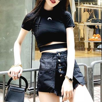 Moon Cut Out Crop Top Tee