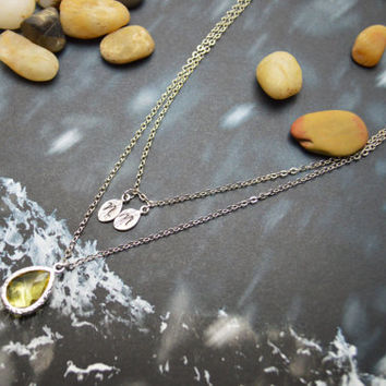 A-143 Hand stamped initial leaf necklace, Double strand, Layered, Drop necklace, Yellow, Silver plated/Everyday jewelry /Special gift/